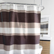 Bruce Bold Large Horizontal Stripe Fabric Shower Curtain In Brown, Taupe & Ivory