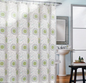 Cynthia Rowley Cotton Fabric Shower Curtain Blue Green Circle Medallion Pattern on White