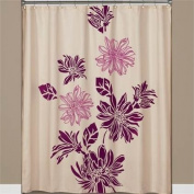 Flocked Floral Fabric Shower Curtain In Eggplant & Magenta On Cream