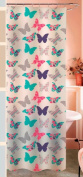 Flying Butterflies Frosted PEVA Shower Curtain 71wX74L