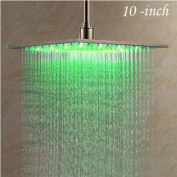 Rozin Nickel Brushed 25cm LED Changing Colour Rainfall Shower Head Over-head Shower Spray