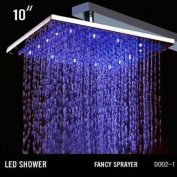 Fontana 25cm Ceiling Mount Square Rainfall LED Shower Head, Stainless Steel with Chrome Finish (