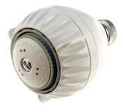 Shower Pro Massage White Showerhead 2.5 with pressure compensating flow controller, low flow 2.5 gpm