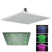 Fontana 30cm Square Rainfall LED Shower Head (Special Lights), Stainless Steel with Chrome Finish (