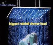 Fontana 100cm Luxury Large Square LED Rain Bathroom Showerheads Brushed Stainless Steel