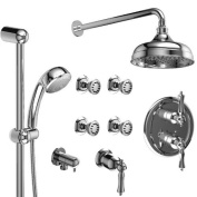 Riobel Provence KIT#4PRLCW Thermostatic Shower System with Jets Chrome x White Lever