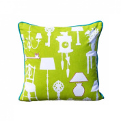 Bright Green Cushion Cover With Silhouette Print Of Homewares Accented With Turquoise Colour Back Piping & Pink