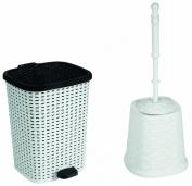 Rattan (Wicker Style) Bathroom Set Toilet Brush and 6 Litre Compact Trash Bin