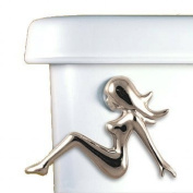 Functional Fine Art Mud Flap Girl Decorative Toilet Flush Handle Trip Lever Side Tank Mount Satin Pewter