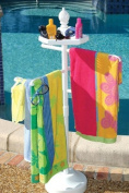 White Outdoor Towel Holder Pool Spa Valet