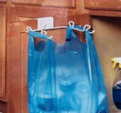 """""""ABC Products"""" - Heavy White Wire ~ Grocery Bag Hanger - Hangs Over The Cabinet Door"""