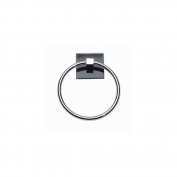 Atlas Homewares ETR-BL-CH Eucalyptus Collection 16cm Black Towel Ring, Polished Chrome