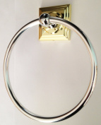 Delta HARVARD 2-Tone Polished Brass & Chrome Bathroom Wall Mounted TOWEL RING