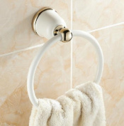 MKL Towel Ring with Brass Construction in White+Gold, #MKL02A