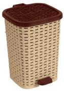 Rattan (Wicker Style) Compact Trash Bin Beige and Brown