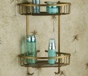 Rozinsanitary Dual Tier Corner Bracket Antique Brass Bathroom Shelf Shower Caddy Basket Holder