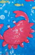 Whimsical Red Crab, Green Seahorse, Yellow Starfish Fabric Shower Curtain On Vivid Blue Water