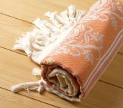 "Jacquard Pestemal Turkish Towel High Quality Cotton Bamboo Hamam Unisex by Cacala ""Orange"""