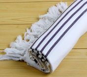 "Hand Loomed Striped Pestemal Turkish Bath Towel 90cm x 180cm for Bath Hamam Sauna Gym Unisex TradeMarked by Cacala ""White - Black"""