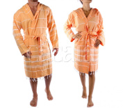 Hooded Bathrobe Pestemal Fabric 100% Turkish Cotton Kimono Unisex Made in Turkey (TM) Trademarked by Cacala