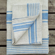 LinenMe Linen Provence Hand and Guest Towels, 46cm by 70cm , Natural Blue Striped, Set of 2