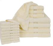 Calcot All American Line 100-Percent Supima Cotton 16-Piece Bath Towel Set, Ivory