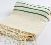 "Hand Loomed Striped Pestemal Turkish Bath Towel 90cm x 170cm for Bath Hamam Sauna Gym Unisex TradeMarked by Cacala ""Green"""