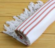 "Hand Loomed Striped Pestemal Turkish Bath Towel 90cm x 180cm for Bath Hamam Sauna Gym Unisex TradeMarked by Cacala ""White - Red"""