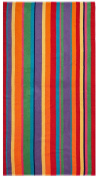 Cotton Craft - Terry Beach Towel 30x60 - 2 Pack - Summer of Siam Multi Stripe - 400 grammes 100% Pure Ringspun Cotton - Brilliant intense vibrant colours - Highly absorbent easy care machine wash - Use for picnic poolside or as a colourful bath towel