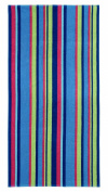 Cotton Craft - Terry Beach Towel 30x60 - 2 Pack - Chelmsford Multi Stripe - 400 grammes 100% Pure Ringspun Cotton - Brilliant intense vibrant colours - Highly absorbent easy care machine wash - Use for picnic poolside or as a colourful bath towel