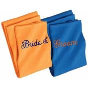 Orange & Blue Bride & Groom Beach Towel Set
