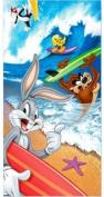 Looney Tunes Tweety, Bugs Bunny, Taz Tasmanian Devil, & Sylvester Surfing Beach Towel ~ Can Be Used for Bath