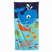 Jumping Beans Big Blue Whale Sea Life Plush Cotton Velour Beach Towel 30x60