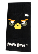 All Black Face Black Angry Bird Bath and Beach Towel for Kids