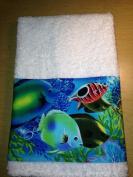 New HandMade Tropical Blue Ocean Fish Guest Hand Towel