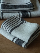 LinenMe Linen Provence Hand and Guest Towels, 46cm by 70cm , Natural Black Striped, Set of 2