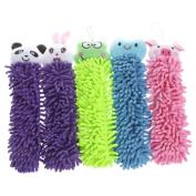 TOMTOP Kictchen Chenille Fibre Hand Towel Clean Absorbent Cloth, Dry Your Hands Quickly, 5 In 1 set(Cute Smiling Face Blue,Cute Cartoon Rabbit Purple,Cute Cartoon Pig Pink,Cute Cartoon Panda Purple,Cute Cartoon Frog Green)