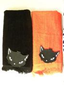 lot of 2 Black Cat hand Towels halloween decor orange fall