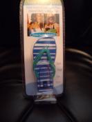 Boca Beach Towel & Sarong Clips Tropical Flip Flop Blue Strips