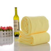Housweety Warm Yellow Nano Microfiber Drying Absorbent Bath Towel, 1 Pc