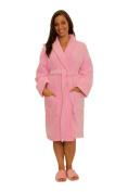 Custom Embroidered Pink Shawl Adult Bathrobe, Terry Cotton Unisex Velour Women Robe