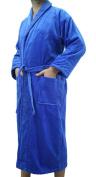 Custom Embroidered Blue Men's, Women's Bathrobe, Shawl Style Velour Cotton Adult Robe