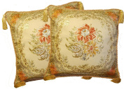 Aubusson Style 2 Cushion/pillow Cover 46cm Embroidered with Intricate Golden Threads 10A