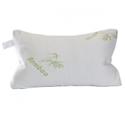 Shredded Memory Foam Bamboo Covered Pillow - Contour Queen with Best Travel Case - Works with Any Mattress or Futon Firm or Soft - Topper Great for Side Sleeper Decorative Cover Perfect for Every Body Latex Free - Great During Pregnancy Stays Cool
