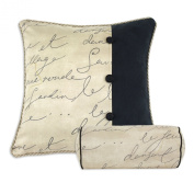 Chooty Pen Pal Parchment-PS 2 Panel Trimmed Hypoallergenic Fibre Pillow, 48cm by 48cm , Black
