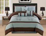 7 Pieces Brown Aqua Blue Embroidery Comforter Set Bed-in-a-bag Queen