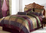 Chezmoi Collection 7 Pieces Multi Colour Gitano Jacquard Patchwork Comforter (230cm x 230cm ) Set Bed-in-a-bag Queen Size Bedding