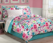 Retro Peace Signs Turquoise Pink Girls Comforter Set with Bedskirt