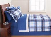 Blue & White Plaid Queen Comforter Set