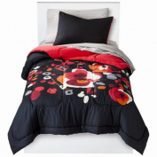 Room Essentials Twin XL Bed in Bag Black Floral Comforter Set Sheets Shams 5 pc